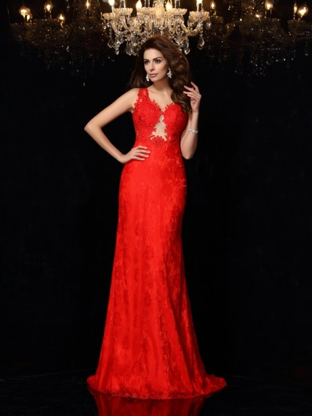 Sheath/Column V-neck Lace Sleeveless Long Satin Dresses