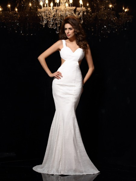 Trumpet/Mermaid Straps Beading Sleeveless Long Lace Dresses