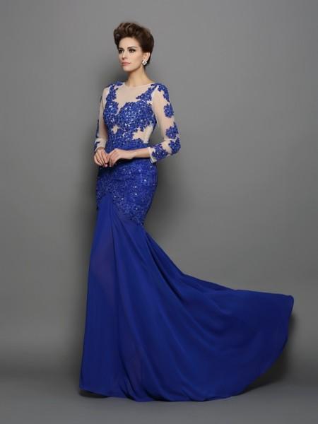 Trumpet/Mermaid Scoop Lace Long Sleeves Long Chiffon Dresses