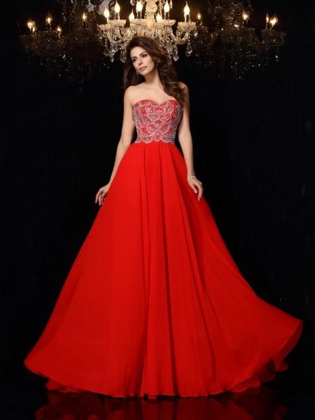 A-Line/Princess Sweetheart Beading Sleeveless Long Chiffon Dresses