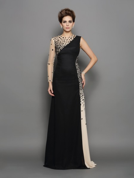 A-Line/Princess High Neck Beading Long Sleeves Long Chiffon Dresses
