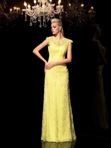 Sheath/Column Sheer Neck Lace Sleeveless Long Chiffon Dresses