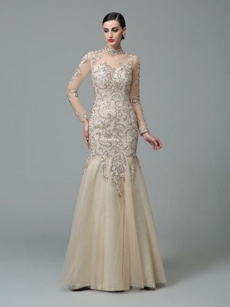 Sheath/Column High Neck Applique Long Sleeves Long Net Dresses