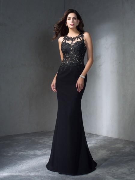 Trumpet/Mermaid Scoop Sleeveless Long Applique Chiffon Dresses