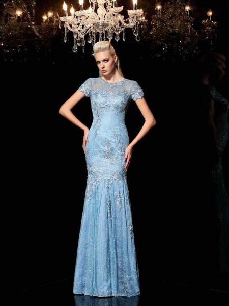 Sheath/Column Sheer Neck Applique Short Sleeves Long Lace Dresses