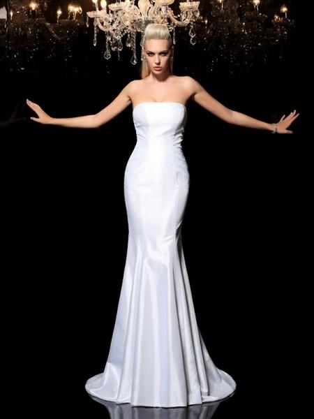 Sheath/Column Strapless Sleeveless Long Satin Dresses