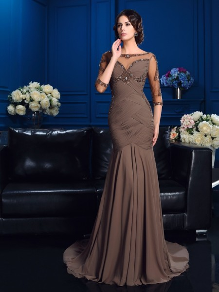 Sheath/Column Scoop Beading 3/4 Sleeves Long Chiffon Mother of the Bride Dresses