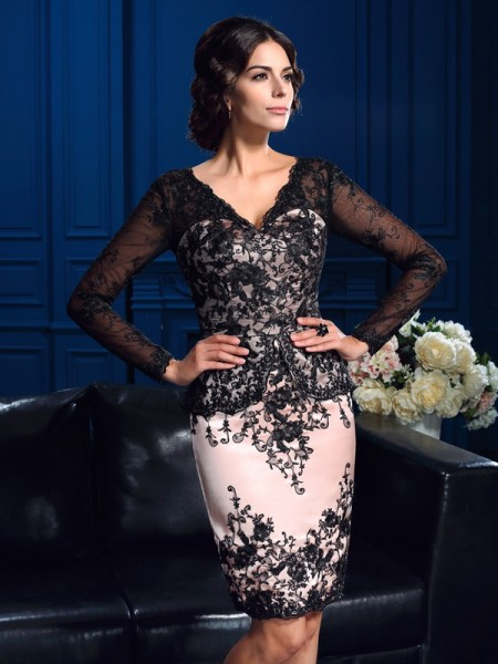 Sheath/Column V-neck Applique Long Sleeves Short Lace Mother of the Bride Dresses