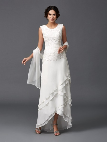 0e0be90c129 A-Line Princess Scoop Lace Sleeveless Long Chiffon Mother of the Bride  Dresses