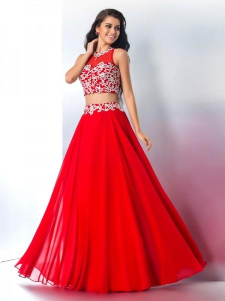 A-Line/Princess Sheer Neck Applique Sleeveless Long Chiffon Two Piece Dresses