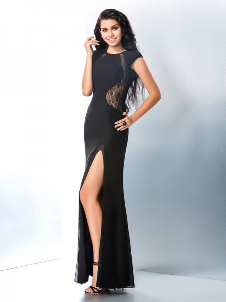 Trumpet/Mermaid Scoop Lace Short Sleeves Long Chiffon Dresses