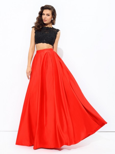 A-line/Princess Scoop Lace Sleeveless Long Satin Two Piece Dresses