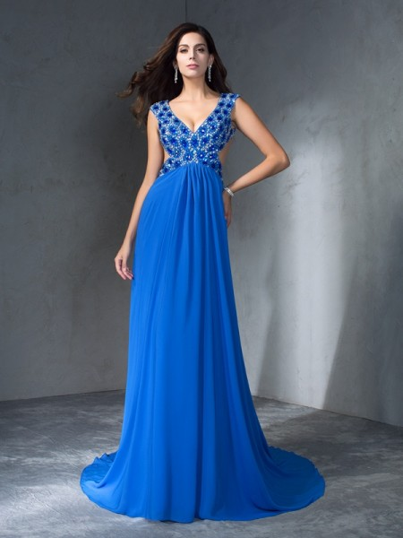 A-Line/Princess V-neck Sequin Sleeveless Long Chiffon Dresses