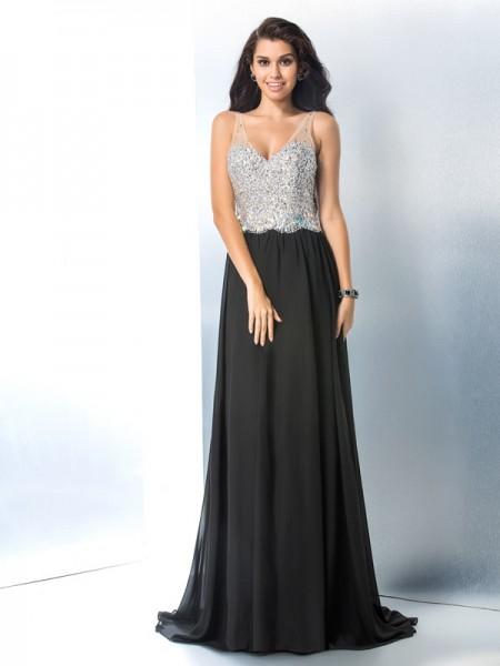 A-Line/Princess V-neck Beading Sleeveless Long Chiffon Dresses