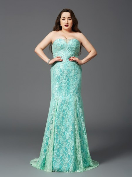 Sheath/Column Strapless Lace Sleeveless Long Satin Plus Size Dresses