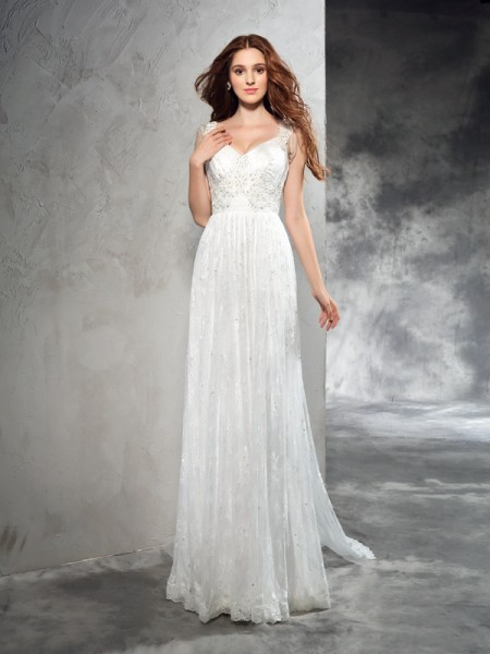 A-Line/Princess Straps Lace Sleeveless Long Lace Wedding Dresses
