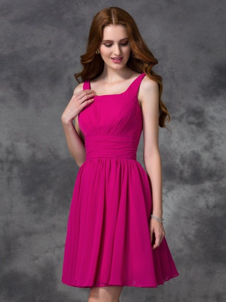 A-line/Princess Square Sleeveless Short Chiffon Bridesmaid Dresses