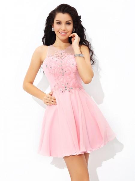 A-Line/Princess Sheer Neck Applique Sleeveless Short Chiffon Cocktail Dresses