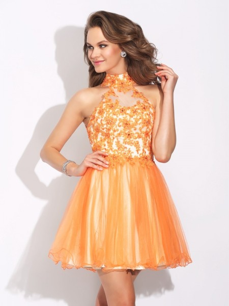 A-Line/Princess High Neck Ruffles Sleeveless Short Net Dresses