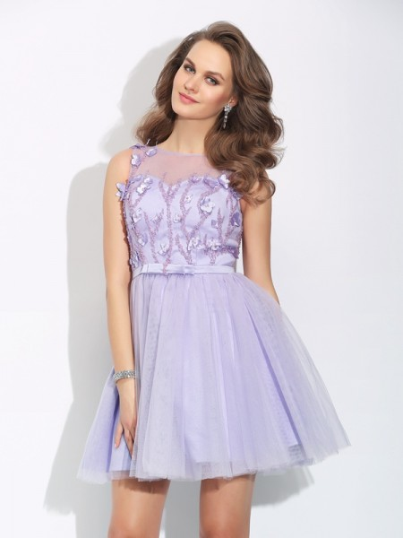 A-Line/Princess Bateau Applique Sleeveless Short Satin Dresses