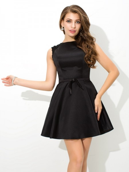 A-Line/Princess High Neck Sash/Ribbon/Belt Sleeveless Short Satin Cocktail Dresses