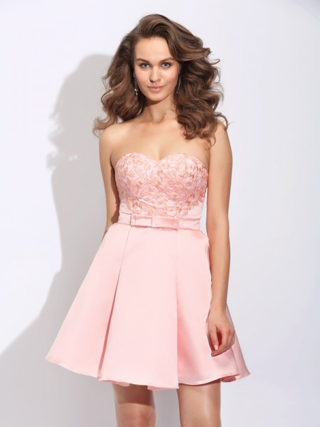 A-Line/Princess Sweetheart Ruffles Sleeveless Short Satin Dresses