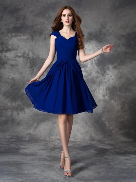 A-line/Princess Straps Ruffles Sleeveless Short Chiffon Dresses