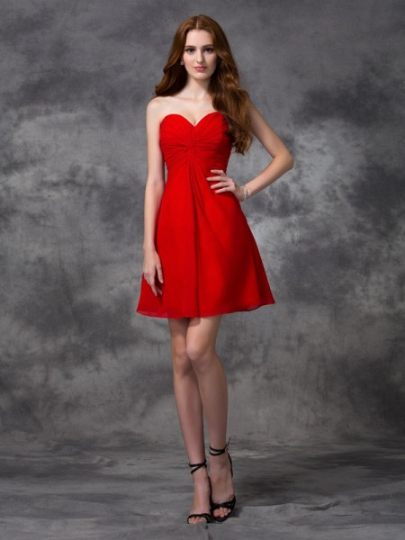 A-line/Princess Sweetheart Ruched Sleeveless Short Chiffon Cocktail Dresses