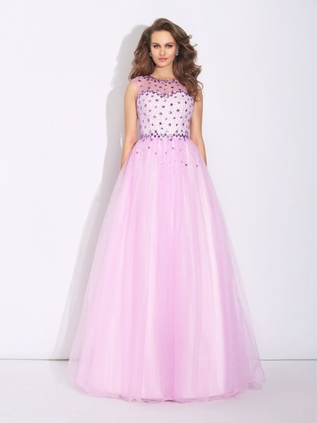 A-Line/Princess Jewel Rhinestone Sleeveless Long Net Dresses