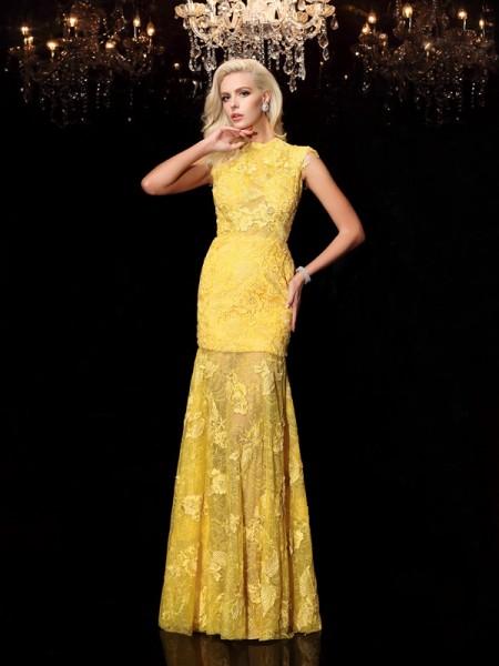 Sheath/Column Jewel Lace Short Sleeves Long Chiffon Dresses