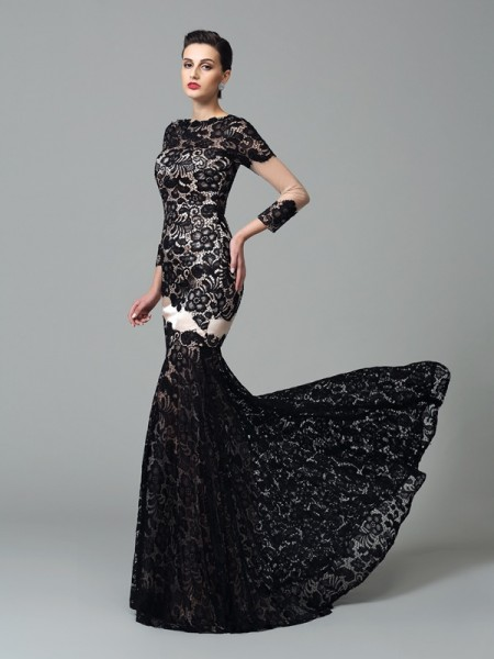 Sheath/Column High Neck Lace 3/4 Sleeves Long Elastic Woven Satin Dresses