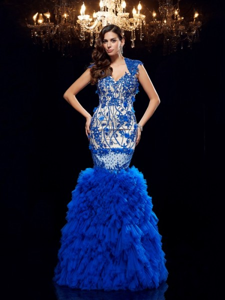 Trumpet/Mermaid Sweetheart Applique Sleeveless Long Net Dresses