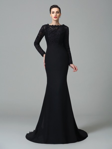 Trumpet/Mermaid Square Lace Sleeveless Long Chiffon Dresses