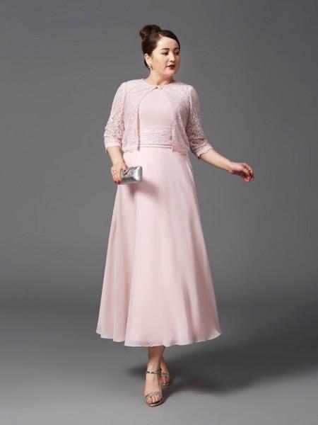 A-Line/Princess Jewel Lace Sleeveless Long Chiffon Mother of the Bride Dresses