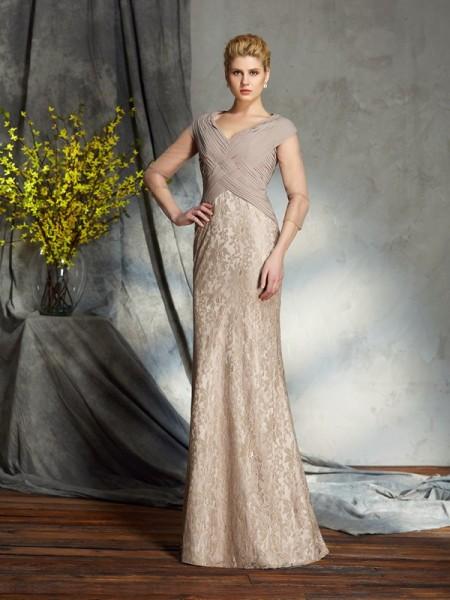 Sheath/Column V-neck 3/4 Sleeves Long Chiffon Mother of the Bride Dresses