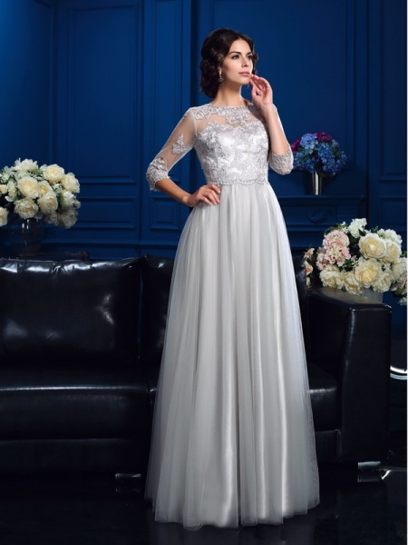 A-Line/Princess Scoop Applique 3/4 Sleeves Long Elastic Woven Satin Mother of the Bride Dresses