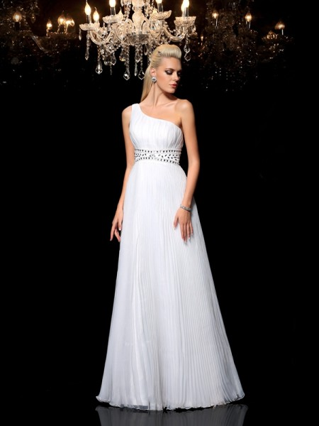 A-Line/Princess One-Shoulder Beading Sleeveless Long Organza Dresses