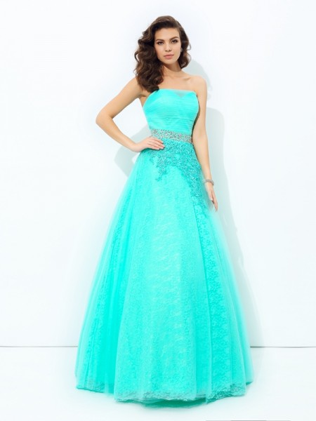 A-line/Princess Strapless Beading Sleeveless Long Elastic Woven Satin Dresses