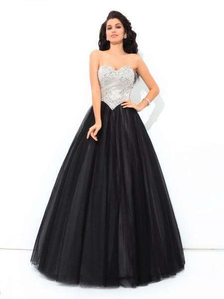 Ball Gown Sweetheart Paillette Sleeveless Long Net Quinceanera Dresses