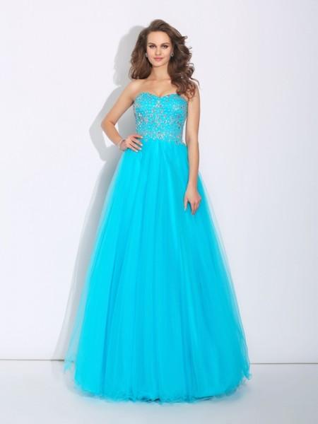 A-Line/Princess Sweetheart Rhinestone Sleeveless Long Satin Dresses