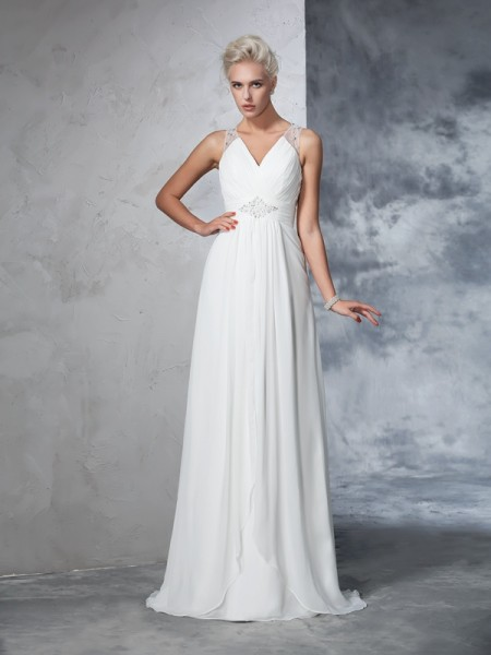 A-Line/Princess V-neck Ruched Sleeveless Long Chiffon Wedding Dresses