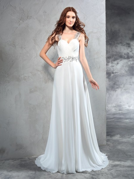 A-Line/Princess Sweetheart Pleats Sleeveless Long Chiffon Wedding Dresses