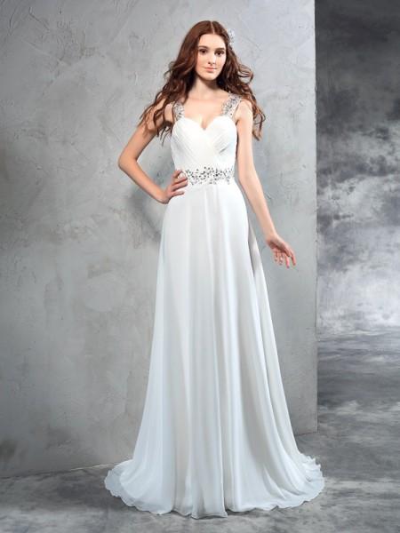 A-Line/Princess Sweetheart Pleats Sleeveless Long Chiffon Wedding Dresses