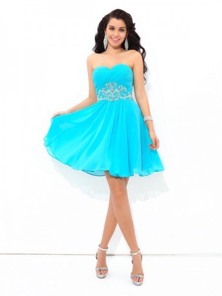 A-Line/Princess Sweetheart Pleats Sleeveless Short Chiffon Cocktail Dresses