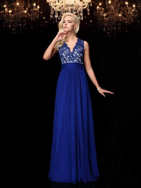 A-line/Princess V-neck Lace Sleeveless Long Chiffon Dresses