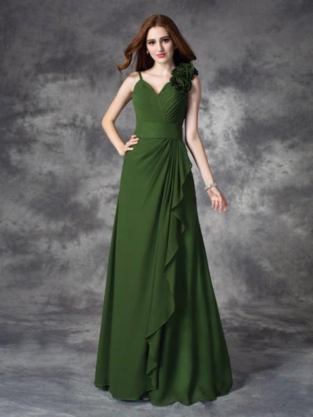A-line/Princess V-neck Hand-Made Flower Sleeveless Long Chiffon Bridesmaid Dresses