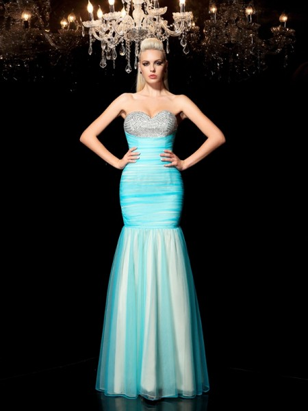 Sheath/Column Sweetheart Sequin Sleeveless Long Net Dresses