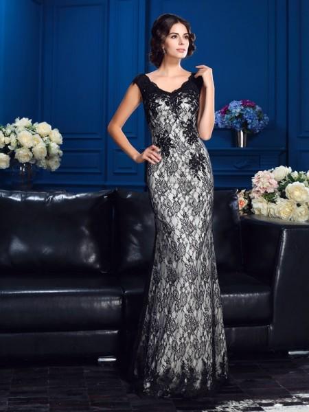 Sheath/Column V-neck Lace Sleeveless Long Satin Mother of the Bride Dresses