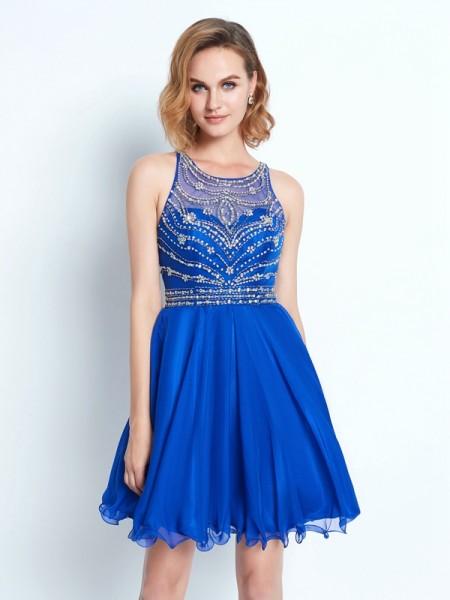 A-Line/Princess Sleeveless Scoop Beading Chiffon Short/Mini Dresses