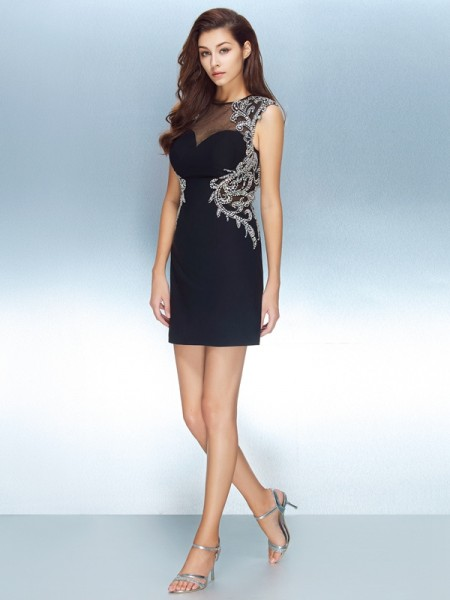 Sheath/Column Jewel Short Sleeves Net Crystal Short/Mini Dresses
